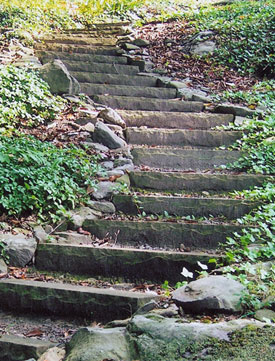 Winding stone stairs make a steep hillside accessible